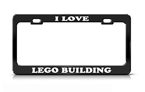 I LOVE LEGO BUILDING Hobby Fun Black Metal license Plate Frame