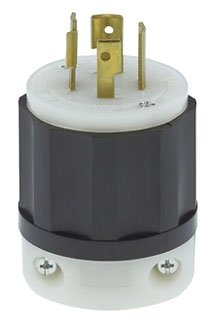 Leviton 2421 20 Amp, 250 Volt 3-phase, NEMA L15-20P, 3P, 4W, Locking Plug, Industrial Grade, Grounding - Black-White