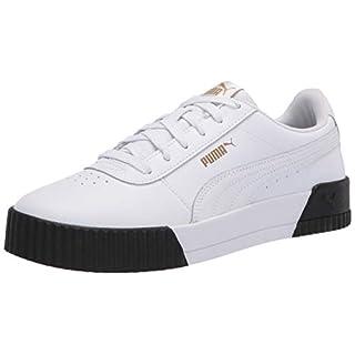 PUMA Women's Carina Sneaker, White White Black, 9 M US