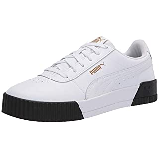 PUMA womens Carina Sneaker, Puma White-puma White-puma Black, 9.5 US