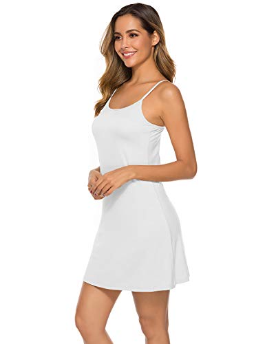 EISHOPEER Women's Full Slip Under Adjustable Spaghetti Strap Cami Mini Dress White S