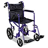 - Excel Deluxe Aluminum Transport Wheelchair, 19w x 16d, 300lb Cap