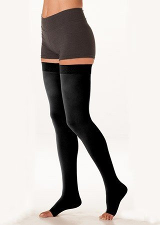 Juzo 3512MXAGSBSH10 IV Dynamic Max 30-40 mmHg Open Toe Thigh High Firm Compression Stockings With Silicone Border In Short - Black44; IV - Large by Juzo