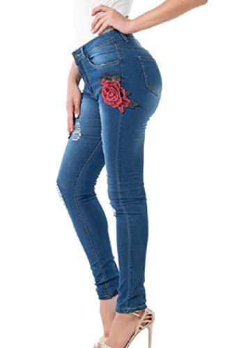 Le Skinny Dimensioni Jeans E Lunghi Chiarocolor Floreale Strappati Yulinge Pantaloni Donne Blu wX1dqxO