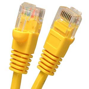 Arrowmounts AM-Cat5e-508YW 25' Cat5e RJ45 Ethernet LAN Network Patch Cable, Booted Snagless, Yellow -