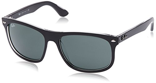 Ray-Ban INJECTED MAN SUNGLASS - TOP MATTE BLACK ON TRASP Frame DARK GREEN Lenses 59mm - Oh Jackie Sunglasses