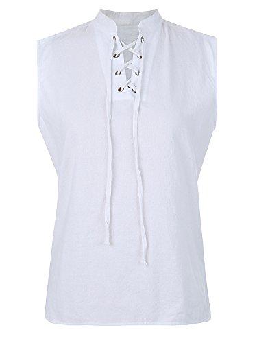 Appler Men's ROGUE SHIRT Renaissance Clothing, Medieval Clothing, Pirate Shirt, Steampunk Costume, Pirate Costume, Viking Tunic, A-white, XX-Large]()