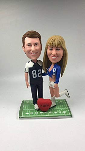 Custom Dallas Cowboys Bobble Head Personalized Cowboys Cheerleader Girlfriend Cowboys Boyfriend Personalized Wedding Cake Topper Figurine