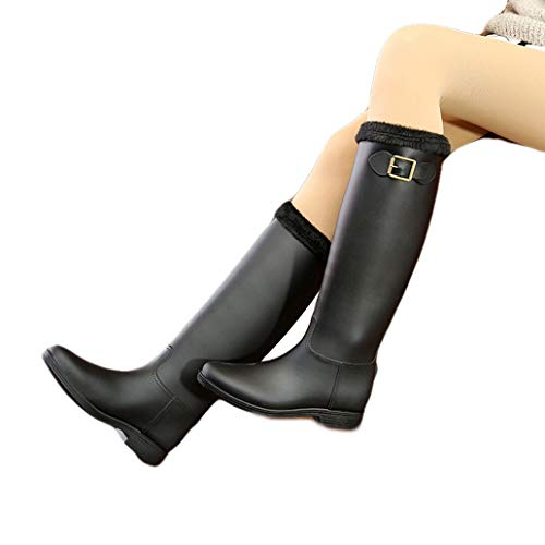 York Zhu Unisex Rubber Rain Boots - Refined Slim Fit Back Strap Rain Boot Waterproof