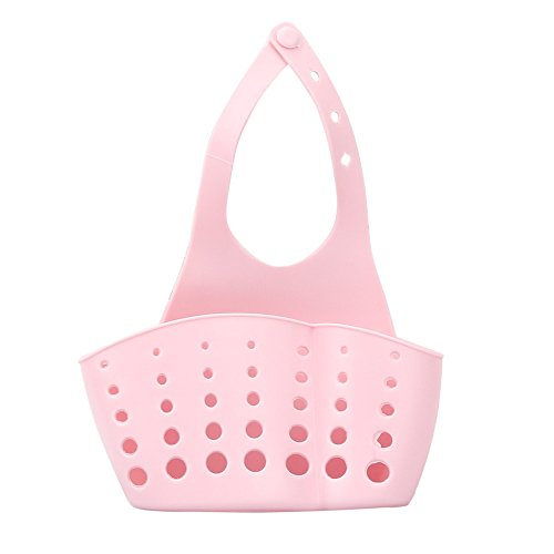 Ninasill Kitchen Sink Drain Rack Portable Home Kitchen Hanging Drain Bag Basket Bath Storage Tools Sink Holder (Pink) from Ninasill Furniture