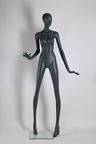 Mannequin Fiberglass (Female Full Body Fiberglass Mannequin Abstract Style, Grey Color (ados5))