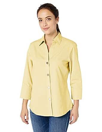 Foxcroft Women's Plus Size Non-Iron Essential Paigely Shirt, Lemon Sorbet, 14W