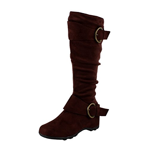 West Blvd Dhaka Knee High Riding Boots, Brown1 Suede, 7.5