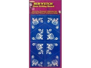 [해외]르 기 'N'Etch Glass 에칭 스텐실 5 x8 1 pkg. 코너 장미 방어구 제품/Rub `N` Etch Glass Etching Stencils 5 x8  1 pkg. Corner Roses Armour Products