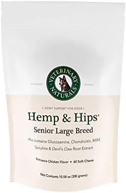 Veterinary Naturals Hemp & Hips Dog Joint Supplement - Glucosamine and Hemp Oil for Dogs - 'Senior Large Breed' Dog Arthritis Supplement - 60 Soft Chew Senior Dog Vitamins, Rotisserie Chicken Flavor