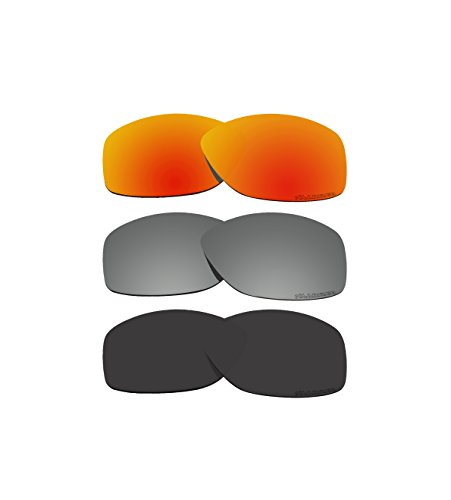 3 Pairs BVANQ Polarized Lenses Replacement for Oakley Cohort OO9301 Sunglasses Red & Black & Black - Cohort Replacement