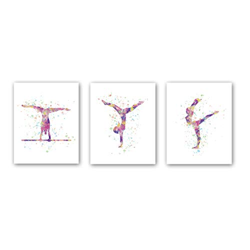 """CHDITB Unframed Abstract Girl Gymnastics Wall Art Print,Sporting Silhouette Poster,Set of 3(8"""" x10"""" ) Canvas Exercise Gyming Beam Posters for Girls Gymnasts Bedroom Nursery Decor"""