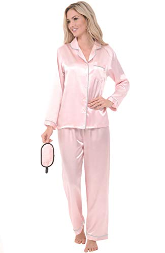 Alexander Del Rossa Womens Satin Pajamas, Long Button-Down Pj Set and Mask, 2X Petal with Light Grey Piping (A0750PTP2X)