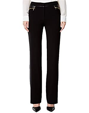 Calvin Klein Women's Faux-Leather-Trim Straight-Leg Pants