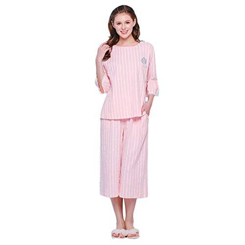 Grazioso Elegante Pink Donna Manica Del Abbigliamento Pizzo Verticali Fashion 3 Pantaloni Set Indumenti Primaverile Autunno Collo Pigiami 4 Casa Da Pigiama Giuntura Notte Strisce Rotondo zUSpqzW