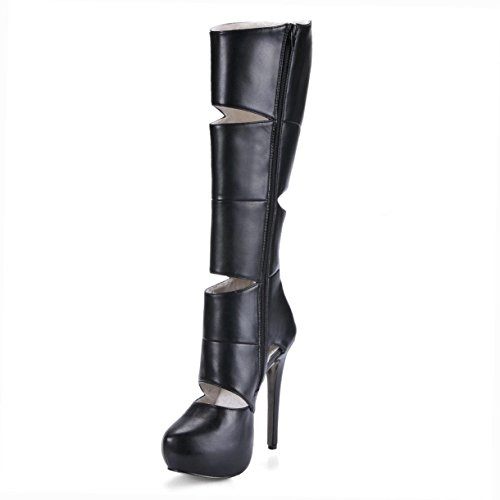 14CM Premium Rubber Zipper Sole Round Toe Heels Unique Shoes Autumn Women's Best Black High High PU Stiletto Boots 4U Summer nqqX8wvz