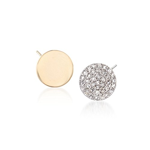 Ross-Simons .14 ct. t.w. Diamond and 14kt Two-Tone Gold Mismatched Earrings (Tone 14kt 2 Earrings Diamond)