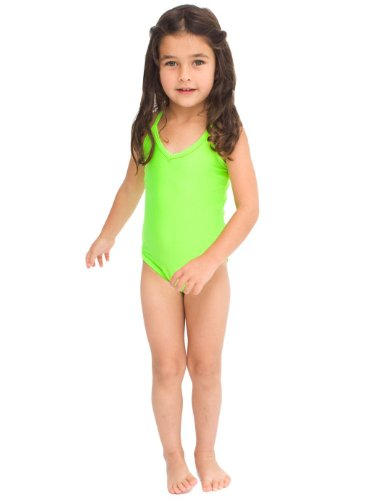 American Apparel Kids' One-Piece Bathing Suit - Fluorescent Green / 2 Years