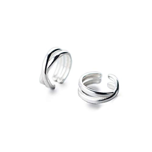 Hoop Double Clip - Simple Cuff Wrap Clip Earrings for Women Girls Men S925 Sterling Silver Double Bands layered X Criss Cross Knot Circle Open Hoop Earrings Minimalist Small Cartilage Non Piercing Fashion Unisex Jewelry