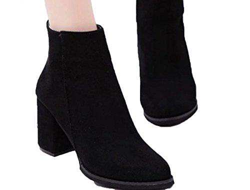 YCMDM DONNA Martin stivali a punta di massima con Scrub Mid Heel Shoes Bare Stivali Singolo , black , 35