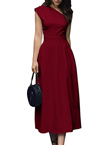 de8970617 GAMISOTE Womens One Shoulder Dress Elegant Summer Sexy Formal Evening A  Line Midi Dresses