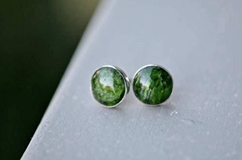 Chrome Diopside Stud Earrings Sterling Silver, 10mm