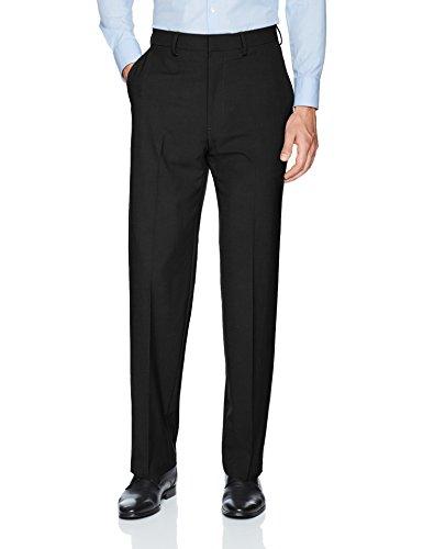 J.M. Haggar Men's Solid Stretch Classic Fit Flat Front Dress Pant, Black, 42Wx32L