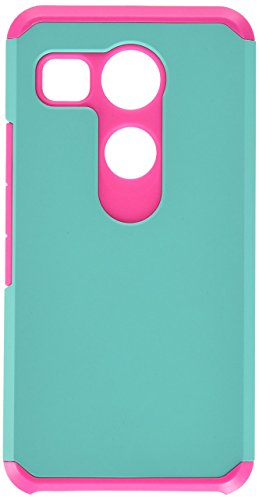 Asmyna Cell Phone Case for LG H790 (Nexus 5X) - Retail Packaging - Green/Pink/Teal