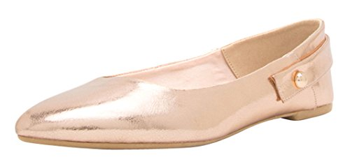 Cambridge Select - Tacón Con Tachuelas Para Mujer, Tacón Cerrado, Con Cordones, Slip-on, Ballet, Plano, Dorado, Rosa, Patente, Pu