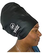 Sargoby Fitness Badmössa, flätor för långt hår, dreadlocks, dreads eller afrohår, dreadlocks, badmössa, storlekar för vuxna, XL, stor. Kan användas som duschmössa.