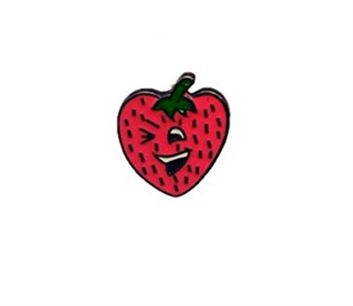 Zhahender Novelty Lovely Buttons Badges Exquisite Cartoon Heart Shaped Strawberry Brooches Button Badge