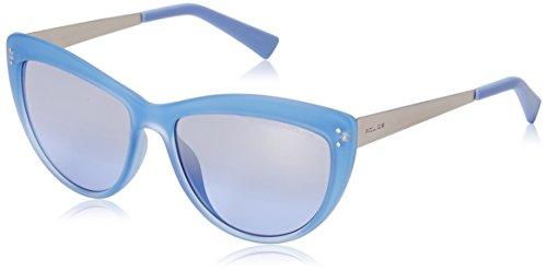 Police Women's S1970M 556WKX Cateye Sunglasses, Semi Matte Violet & Violet Mirror, 55 (Semi Matte Violet)
