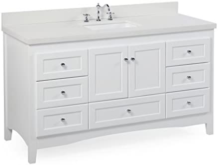 Abbey 60-inch Single Bathroom Vanity Quartz White Includes a White Cabinet, Quartz Countertop, Soft Close Drawers and Doors, and Rectangular Ceramic Sink