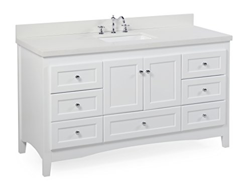 Abbey 60-inch Single Bathroom Vanity (Quartz/White): Includes a White Cabinet, Quartz Countertop, Soft Close Drawers and Doors, and Rectangular Ceramic Sink (60 Inch Bathroom Vanity Single Sink White)