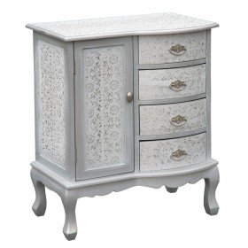 Distressed Antique Style Moroccan Glass White Silver Embossed Cabinet  Storage Unit With Drawers And Cupboards (