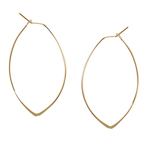 Marquise Threader Big Hoop Earrings - Lightweight Oval Leaf Statement Drop Dangles, 18K Yellow - 1.75 inch, Gold-Electroplated, Hypoallergenic, by Humble Chic NY