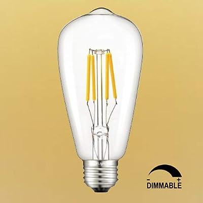 CRLight 4W LED Edison Bulb Dimmable 40W Equivalent E26 Medium Base, ST64 Vintage LED Filament Bulbs, 2500K / 2700K / 4000K