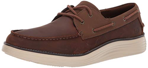 Skechers Men's Status 2.0-Former Moc Toe Leather Lace Up Boat Shoe, CDB, 10 Medium US