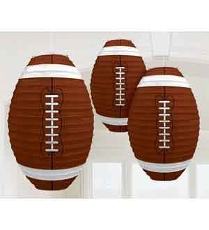 Set of 3 Brown & White Football Birthday / Sports Game / Party Hanging Paper Lanterns Decorations Party Supplies - 13.5 Inches