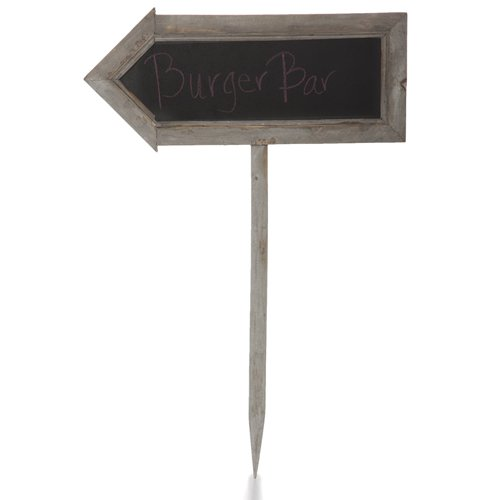 The Lucky Clover Trading Two Sided Arrow Shaped Chalkboard Sign, Medium, Smokey Grey