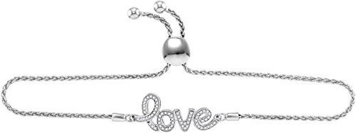 Sterling Silver Womens Round Diamond Love Word Bolo Adjustable Bracelet Cttw by Unknown