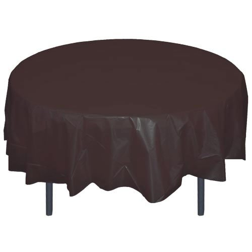 6-Pack Premium Plastic Tablecloth 84in. Round Plastic Table cover - Black -