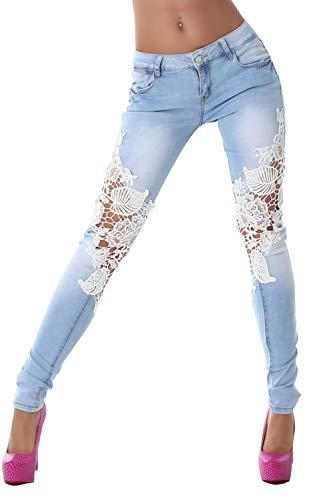Les Jeans Skinny Jeans Lace Patchwork De Faible Taille. Blue