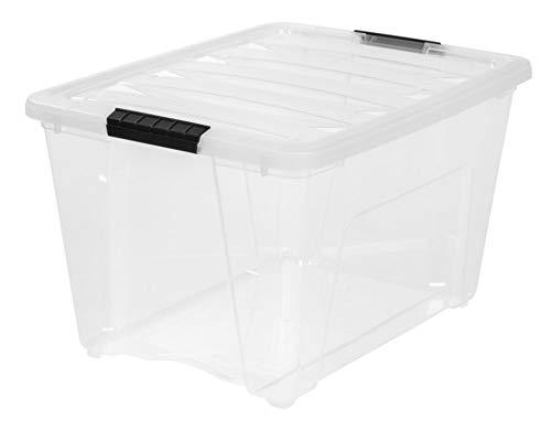IRIS USA, Inc. TB-56D CLR/BLK 6PK IRIS 54 Quart Stack & Pull Box, Clear, 53 Black Buckle