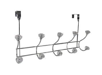 Superior Home Basics 5 Hook Over The Door Hanging Rack, Crystal